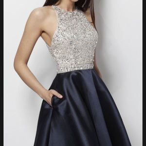 JVN Navy embellished bodice Sleeveless short dress